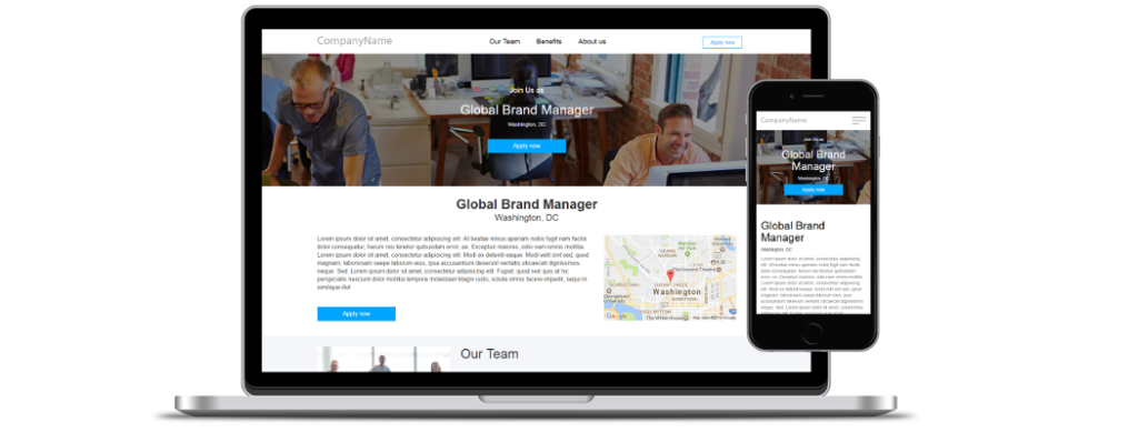 Job ad campaign landing pages platform for employers, agencies and job boards
